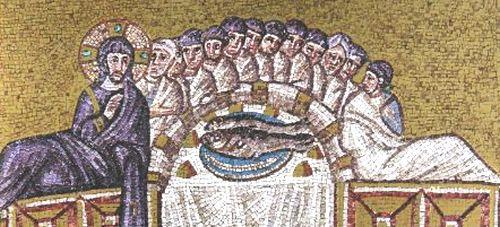 6世紀のモザイク 「最後の晩餐」