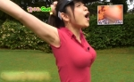 立花麻理 セクシー 脇 ゴルフウェア TVQ九州放送 女子アナウンサー 口開け 地上波キャプチャー 巨乳おっぱい 高画質エロかわいい画像5