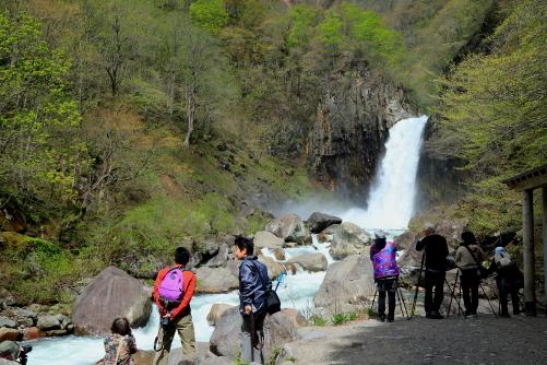 苗名滝にて撮影する参加者