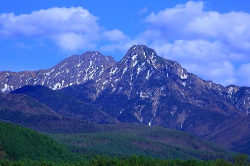 残雪の赤岳と阿弥陀岳