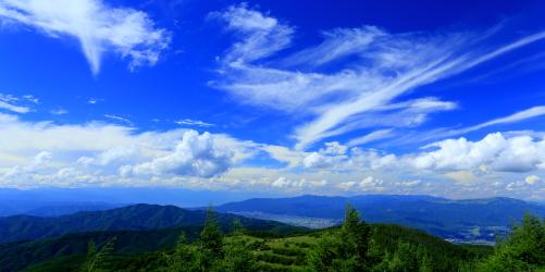 入笠山から望む諏訪湖・守屋山・美ヶ原