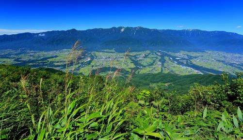 陣馬形山から伊那谷と中央アルプス大観