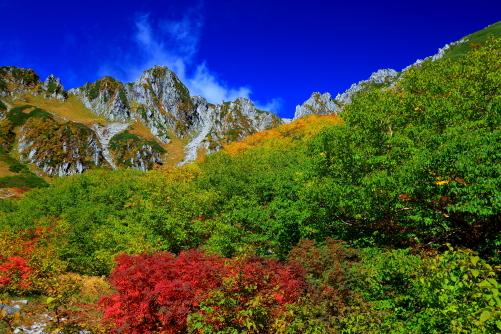 紅葉彩る宝剣岳