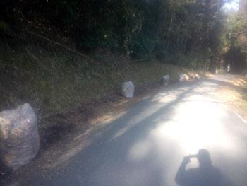 落ち葉拾いの後の山道