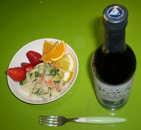 サラダとワイン