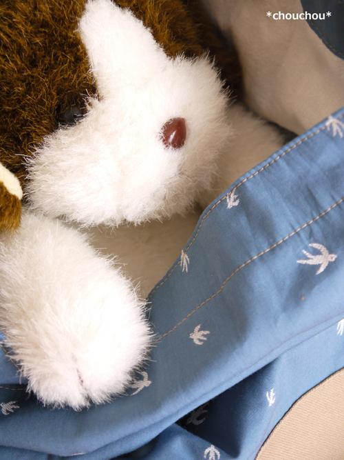 ツバメ 巾着 犬 白1