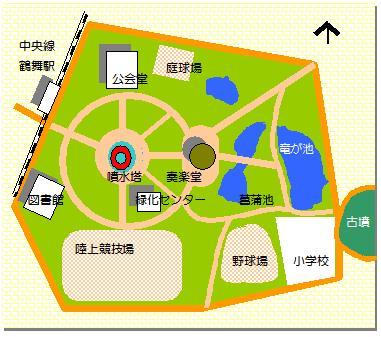 鶴舞公園噴水塔マップ