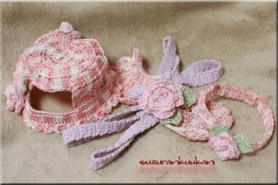 『お出かけセット:ピンクマカロンバージョン』全て花飾り付