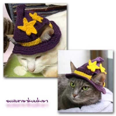 ハロウィン帽子 紫を被ったところ