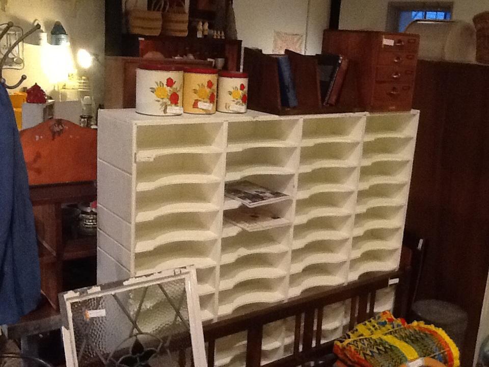 ブロカント 白ペイント ファイル棚 シャビー 店舗 什器 キャビネット