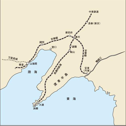 遼東半島の鉄道地図