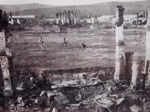 破壊された尼港の町