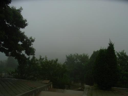 この方向に旅順港が見えるはずなのに、雨では無理か!