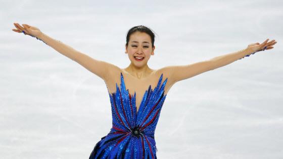ソチ五輪フィギュアスケート女子フリーの演技を終え、感極まり涙を浮かべる浅田真央=20日、ロシア・ソチのアイスベルク・パレス