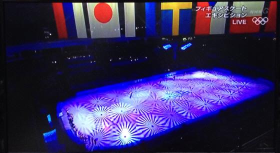 ソチ五輪エキシビション本番 旭日旗一色というか、沢山