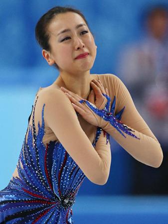 ソチ五輪のフリーの演技を終え涙を流す浅田真央だが、