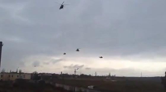 ロシア軍ヘリコプターがウクライナへ侵攻