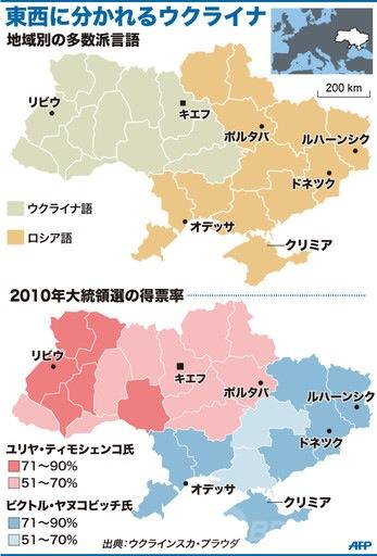 東西に分かれるウクライナ(地域別多数派言語、2010年大統領選の得票率)