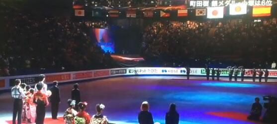 2014フィギュアスケート世界選手権で、フジテレビ、男子シングルの表彰式で、韓国の大清国属旗を執拗に放映