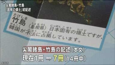 小学校教科書に「日本固有の領土」の記述