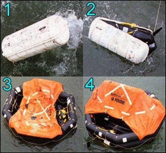 救命艇は使われてない。 それは、救援ヘリから落とした救命艇です。