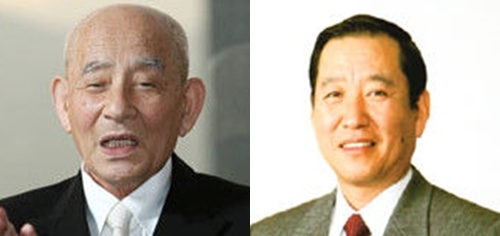 学校法人智辯学園の藤田照清・前理事長(左)と藤田清司・理事長(右)