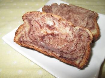 HMで♪簡単バナナマーブルパウンドケーキ