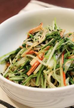水菜と豆苗のおひたし