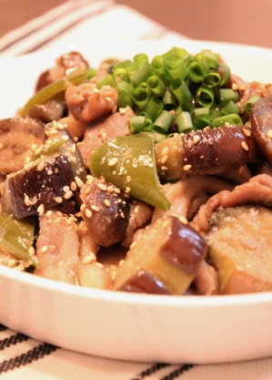 豚コマ肉とナスのねりゴマしょうゆ麹風