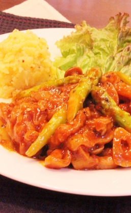 spidy❣豚コマ肉のガーリックソテー