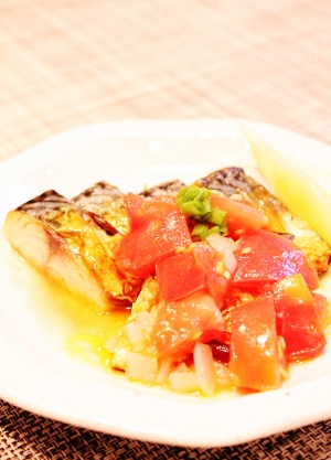 塩サバの食べるトマトソースかけ (300x417)
