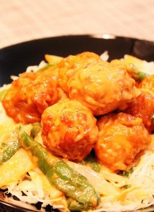 豚コマ肉と野菜のさっと揚げマヨケチャ☆ちょい和風 (303x417)