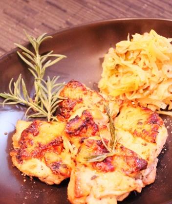 鶏もも肉の香草焼き キャベツのザワークラウト風炒め (352x417)