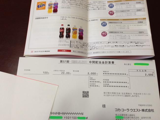 2014  コカウエスト 優待通知