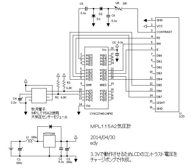 MPL115A2を使った気圧計