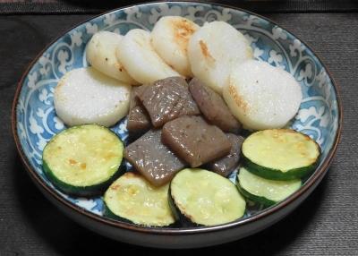 焼き野菜:茄子・山芋・蒟蒻