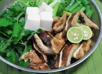 松茸にすだち、豆腐・三つ葉・青ネギ