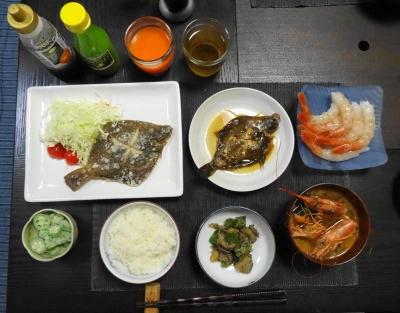 赤海老とダブル目板の夕食