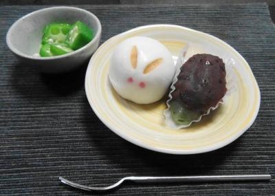 お月見団子+オクラ