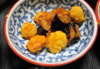 海老と茄子(&山芋)の酢豚風