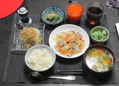 豚と野菜の塩こうじ漬け炒め