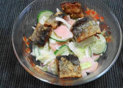 秋刀魚フライのコールスローサラダ