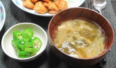 味噌汁&オクラ