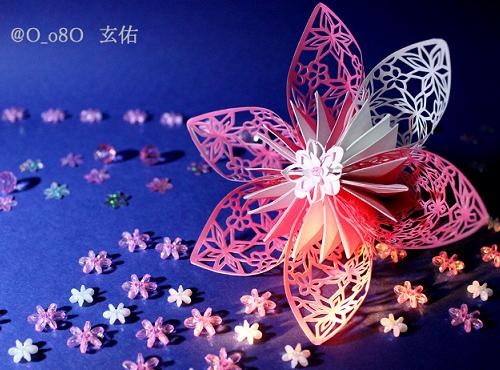 すべての折り紙 折り紙 花 コスモス : ... 立体切り絵、ピンクの花