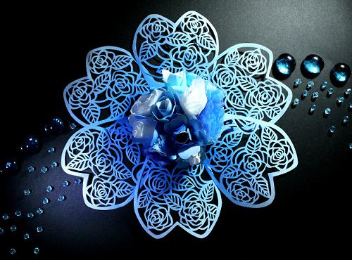 すべての折り紙 折り紙 花 立体 : ... 佑 青の切り絵 切り絵の青い花