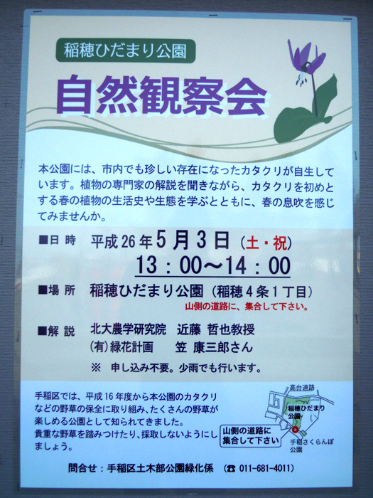 稲穂ひだまり公園 自然観察会 平成26年5月3日 13:00〜14:00。
