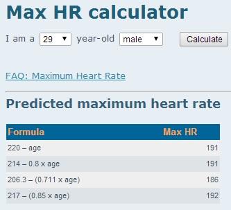 Predicted maximum heart rate