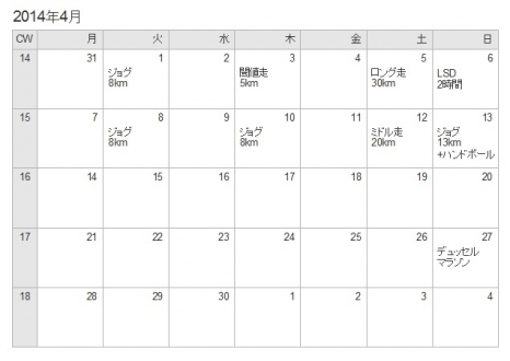 カレンダー2014年4月