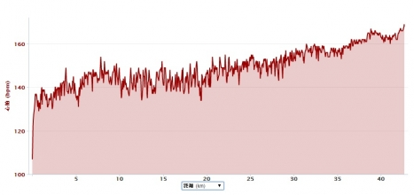 デュッセル2014心拍数推移(ガーミンデータ)