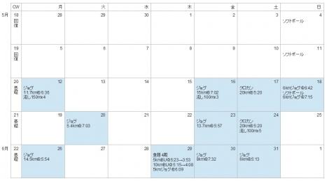 2014年5月練習カレンダー